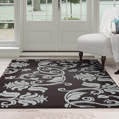 Lavish Home Floral Scroll Area Rug, 5' x 7'7