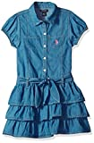 Kyпить U.S. Polo Assn. Toddler Girls' Casual Dress, Two Chest Pockets Ruffles Blue Wash, 4T на Amazon.com