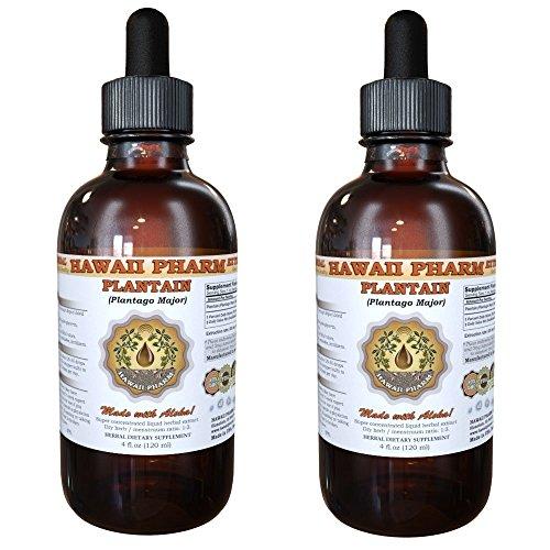 (Plantain Liquid Extract, Organic Plantain (Plantago major) Tincture, Herbal Supplement, Hawaii Pharm, Made in USA, 2x4 fl.oz)