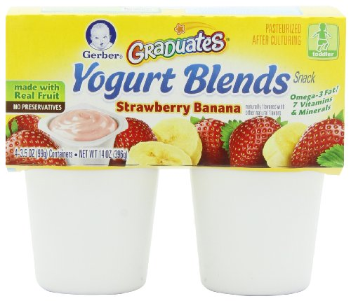 Blend Banana - Gerber Graduates Yogurt Blends, Strawberry Banana, 4-Count, 3.5-Ounce Cups (Pack of 6)