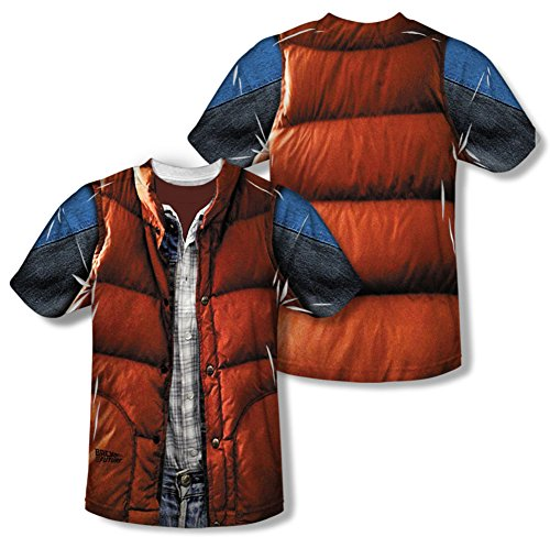 [Back to the Future - Mcfly Vest (Front/Back Print) T-Shirt Size M] (Marty Mcfly Costumes)