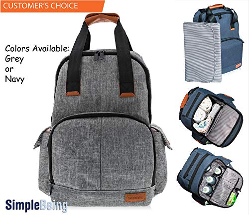 Simple Being Baby Diaper Bag Backpack, Large Waterproof Multi-Function Nappy Travel Bags for Mom, Dad, Men, Women - Insulated Pockets Changing Mat, Baby Items Organizer for Boys & Girls (Grey)