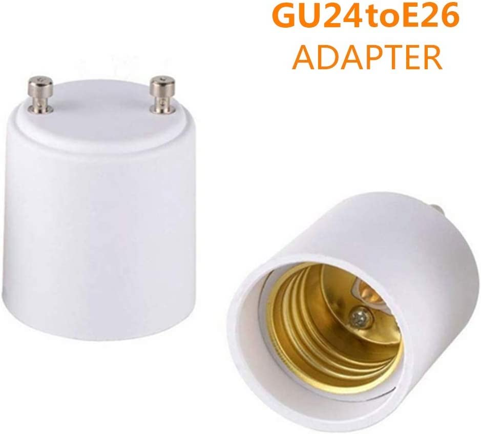 2-Pack GU24 to E26 E27 Adapter Screw Light Socket Converter (GU24 to E26 Adapter)