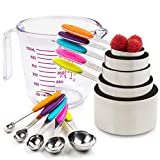 Measuring Cups and Spoons Set-11 Piece, 304 Stainless Steel Measuring Cups and Spoons Set, Including 5-Piece Measuring Cups and 5-Piece Measuring Spoons and 1 Transparent Plastic Measuring Cup