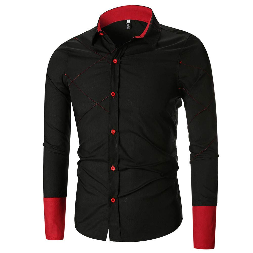 PASATO Personality Men's Autumn Clearance Casual Slim Long Sleeve Patchwork Shirt Top Blouse Cardigan Outswear(Black, L)