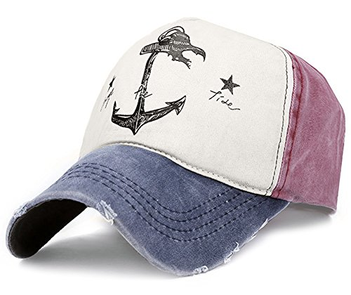 Glamorstar Pirate Ship Anchor Baseball Hat Printing Adjustable Hip-Hop Cap Navy Wine Red ()
