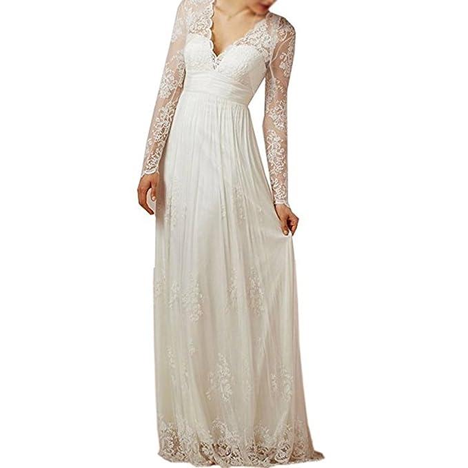 XPLE Women's Long Sleeve Lace Up Beach Wedding Dress Bridal