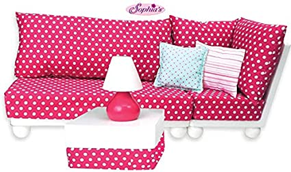 13 Inch Doll Furniture: 13 Pc. Complete White Wood Love Seat, Corner Chair,  Ottoman, Lamp, Complete Cushion & Pillow Set Perfect for 13 Inch American