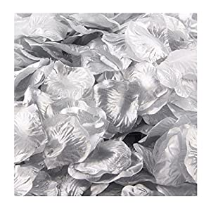 Womail 2000Pcs Artificial Flowers Petals Wedding,Room,Home,Hotel,Party Decoration And Holiday Gift (Silver) 38