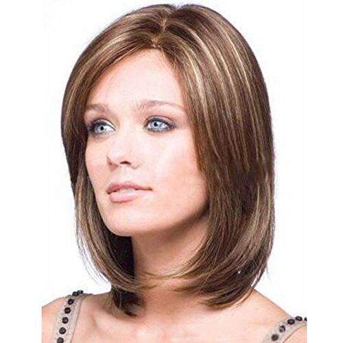 Colorwigy Women's Short Straight Brown WigCharming Wigs New Fashion Women Party Sexy Full Hair Wig Human Hair Natural Looking (Sexy Updo)