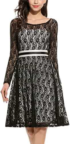 ccaf347b7d24 ANGVNS Women Elegant Long Sleeve A Line Party Cocktail Formal Swing Lace  Dress with Lining