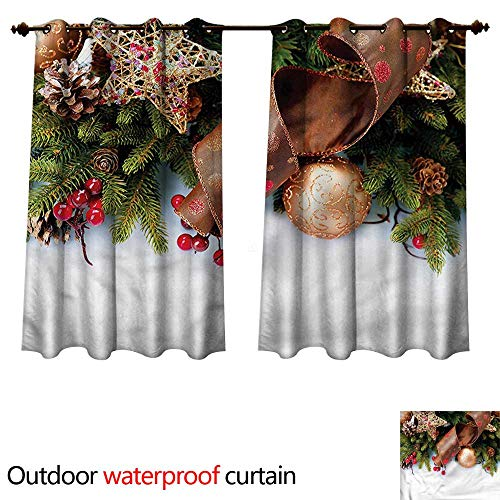 cobeDecor Christmas Outdoor Balcony Privacy Curtain Pine Cones Garland W108 x L72(274cm x ()