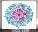 Ambesonne Mandala Curtains, Round Floral Starry Pattern with Soft Aqua Color Ancient Meditation Theme, Living Room Bedroom Window Drapes 2 Panel Set, 108 W X 90 L Inches, White Pink and Blue