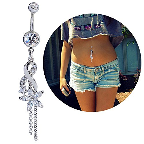 (Mutreso Belly Button Navel Ring Surgical Steel Crystal Flower Dangle Curved Barbell Bananabell Piercing Jewelry)