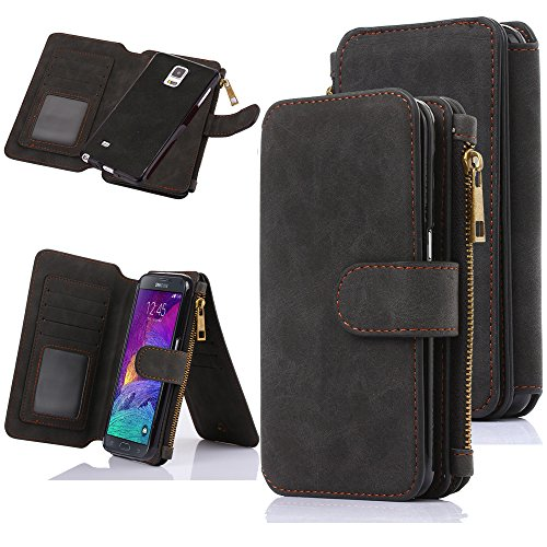 Galaxy Note 4 Case, Note 4 Case, CaseUp 12 Card Slot Series - [Zipper Cash Storage] Premium Flip PU Leather Wallet Case Cover With Detachable Magnetic Hard Case For Samsung Galaxy Note 4 - Black