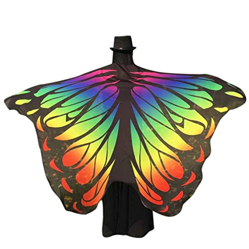 VESNIBA Soft Fabric Butterfly Wings Shawl Fairy Ladies Nymph Pixie Costume Accessory (197125CM, Multicolor -