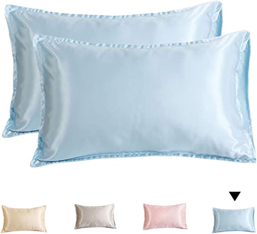 Pillow Cases Luxury Poly Satin Smooth Bedroom Pair Pack Comfort Solid Protector