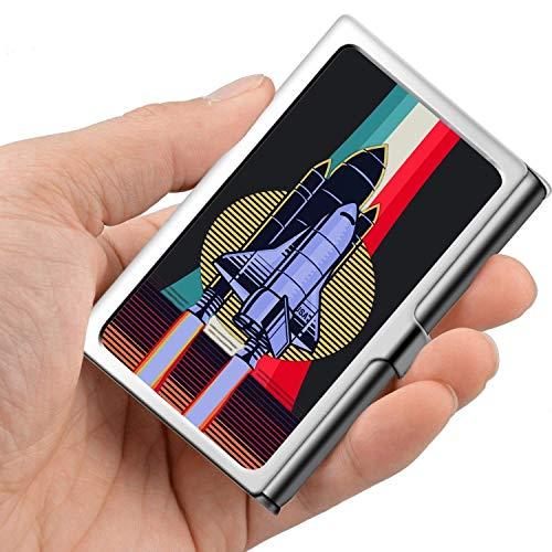 Tarjeta de visita profesional, caja de billetera de acero inoxidable, tarjeta de credito, ID, titular de la tarjeta, nave espacial