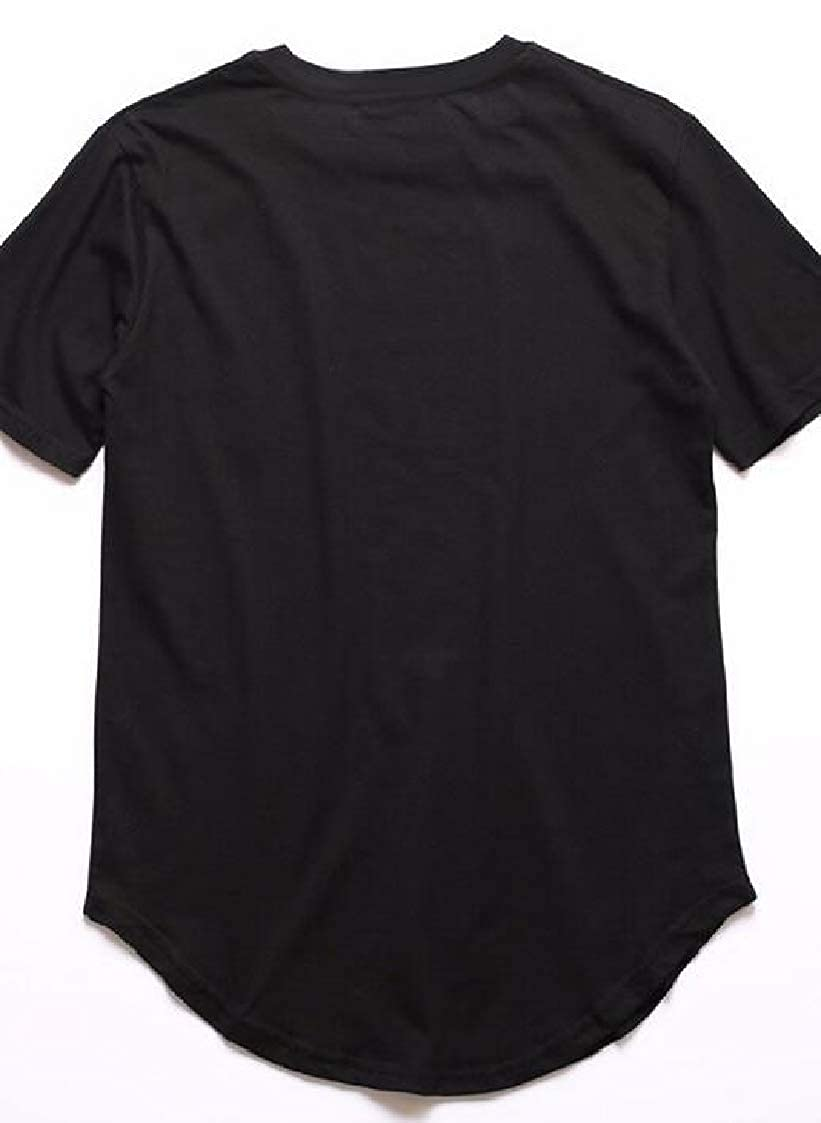 Nanquan Men Solid Color Round Neck Curved Hem Fashion Short Sleeve Tee T-Shirts