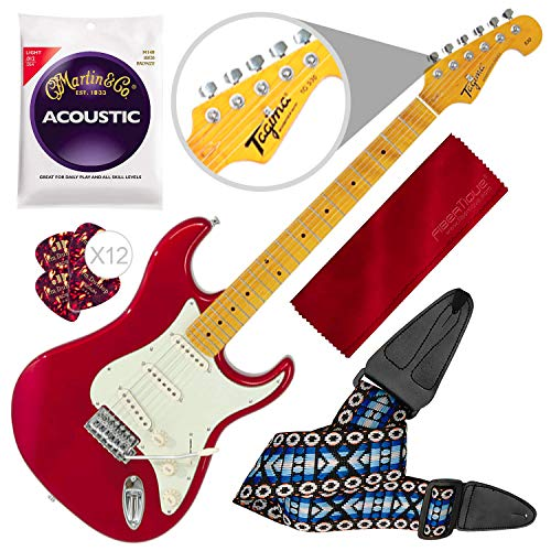 Tagima TG530-MR Woodstock Series Strat Style Electric Guitar, Metallic Red with Guitar Strap and Accessory -