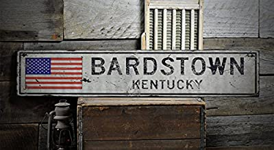 BARDSTOWN, KENTUCKY - Rustic Hand-Made Vintage Wooden Sign - US Flag