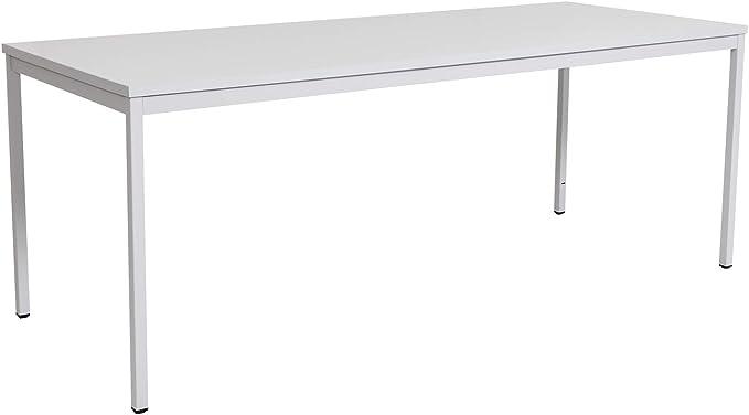 furni24 Schreibtisch Homeoffice Seminartisch 200 cm x 80 cm x 75 cm grau Verschiedene Größen schöner Stabiler PC-Tisch mit viel Beinfreiheiten