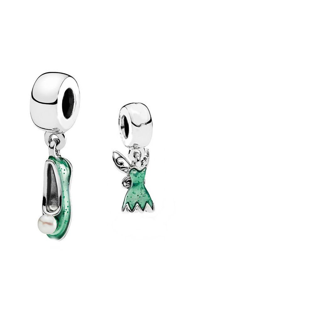 2 Pack Disney Tinkerbell Dress and Shoe Set Sister Mum Friend gift will fit Pandora and Biagi charm bracelets bmp Bibbys Online 236