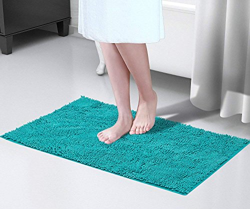Bath Rug Mat, JML Non-Slip Shaggy Microfiber Chenille Bathroom Rug, Extra Soft and Absorbent Machine Washable, Perfect for Bath, Tub, and Shower (Turquoise, 20 x 32 Inches)