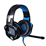 KOTION EACH G2000 Over-ear Game Gaming Headphone Headset Earphone Headband with Mic Stereo Bass LED Light for PC Game (Blue)