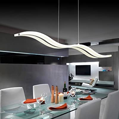 LightInTheBox Acrylic LED Pendant Light Wave Shape Chandeliers Modern Island Dining Room Lighting Fixture