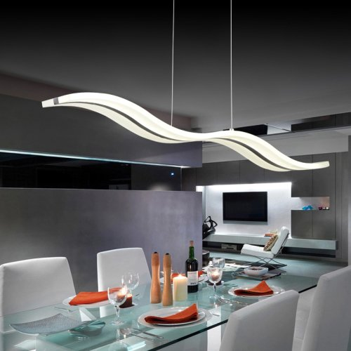 acrylic led pendant light wave shape chandeliers modern island dining room lighting fixture with max 40w chrome finish lm light