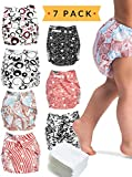 Cloth Diapers - 7 Piece Reusable Diaper Cover Set - Bonus 7 Baby Soft Insert Liners, Waterproof Carry Bag - All in One Pack - Unisex Pocket Design for Boys & Girls - Great for Baby Shower