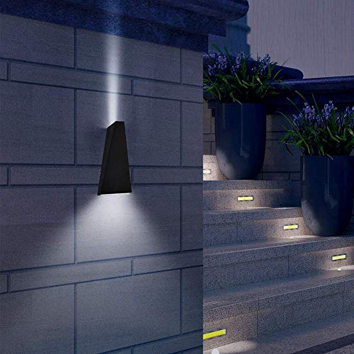 Aipsun 6W LED Metal Aluminum Wall Sconce IP54 Waterproof Modern Rectangular Wall Lamp up and Down Design for Outdoors Outside Exterior Garden Hotel Gallery Decoration (Black,White 4000k)