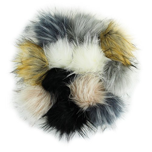 DIY 12pcs Faux Raccoon Fur Pom Pom Ball for Knitting Hat DIY Accessories - Neutral Color