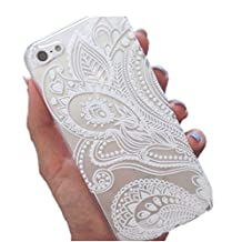 4S Case, Iphone 4 Case- NVHANZ Henna White Floral Paisley Flower Hard Plastic Clear Case Silicone Skin Cover for Apple Iphone 4/4S
