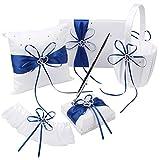 OurWarm Wedding Guest Book + Pen Set + Flower Basket + Ring Pillow + Garter, White Cover, Double Heart Rhinestone Decor Royal Blue / Deep Blue Ribbon Bowknot Elegant Wedding Ceremony Party Favor