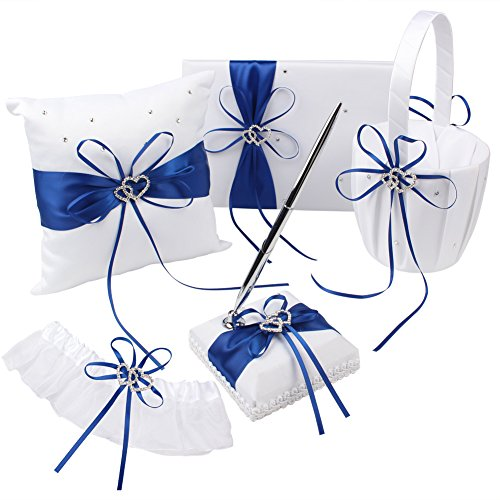 OurWarm Wedding Guest Book + Pen Set + Flower Basket + Ring Pillow + Garter, White Cover, Double Heart Rhinestone Decor Royal Blue / Deep Blue Ribbon Bowknot Elegant Wedding (Guest Book Pen Set Ring)