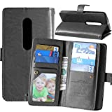 MOONCASE Moto X Play Case, [Shock Absorbent] TPU + Pu Leather Case Cover for Motorola Moto X Play Wallet Style [9 Card Slots] Folio Flip Bracket Case with Photo Frame Black
