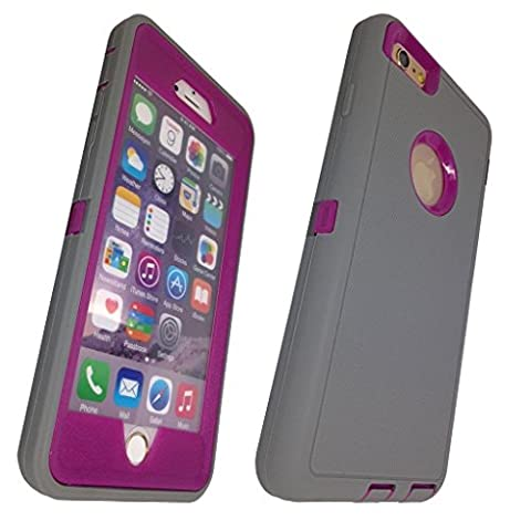 iphone 6 plus case, Lucky On iPhone 6 / 6s PLUS 5.5in Durable Dual Layer Protective Hybrid Armor Heavy Duty Shockproof Shell Case - built-in Transparent Screen Protector - LightGrey & Purple