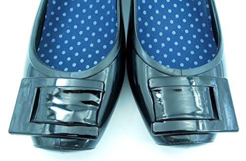 【ROOM28】完全防水バックルレインパンプスヒール3.5cm晴れの日も使えるおしゃれデザイン!きれいめスクエアトウ通勤通学にぴったり雨用長靴レディースシューズ靴(黒ブラック,L24cm)