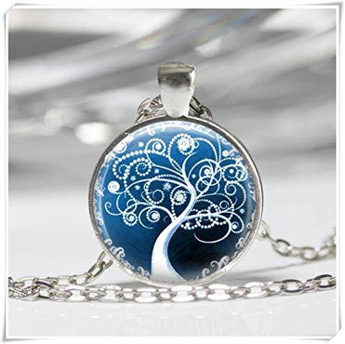 Tree Necklace Winter Jewelry Snow White Swirly Tree - Swirly Snow