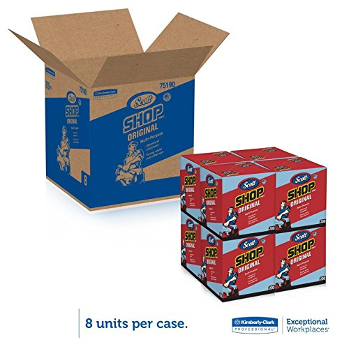 Scott DMQWAVGW Kimberly-Clark 75190 Shop Towels, 10'' x 12'', Blue, 4 Box of 200 Towels by Scott (Image #1)