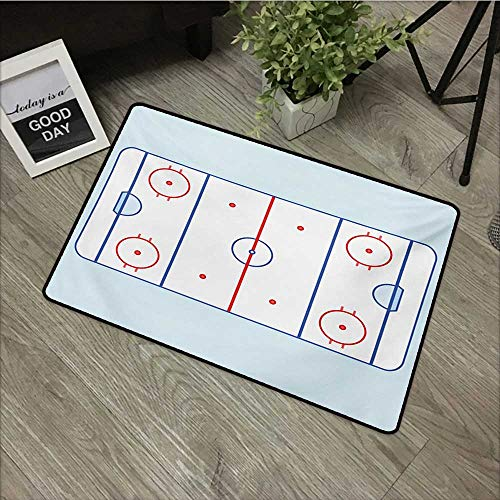 Meeting Room mat W24 x L35 INCH Hockey,Ice Hockey Field in Blue Tones and Red Graphic Outline for Sport Events,Blue Red Pale Blue with Non-Slip Backing Door Mat Carpet
