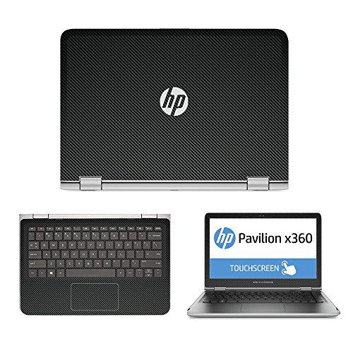 Black Carbon Fiber skin decal wrap skin Case for HP Pavilion x360 13 13-s020nr 13-s067nr 13-s099nr 13-s120nr 13-s199nr 13.3 Touch Laptop