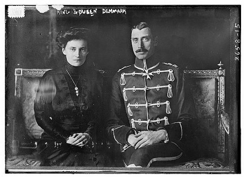 1913 Photo King & Queen - Denmark Christian X (1870-1947), King of Denmark from 1912 to 1947 and his Queen Consort Princess Alexandrine, Duchess of Mecklenburg-Schwerin. (Source: Flickr Commons projec by Historic Photos