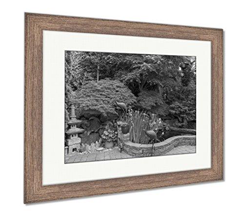 Iris Garden Metal Sculpture (Ashley Framed Prints Home Garden Backyard With Lush Plants Japanese Landscaping Pond Stone Pagoda, Wall Art Home Decoration, Black/White, 34x40 (frame size), Rustic Barn Wood Frame, AG6503752)