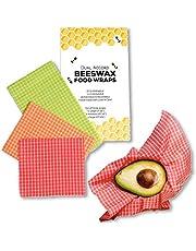 Emballage Cire d'abeille Bio - Zéro Déchet, Emballage Alimentaire Reutilisable | Ecologique, Durable, Biodégradable, Remplace l'Emballage Plastique | 3 Pack Multicolores (vert, orange, rouge)