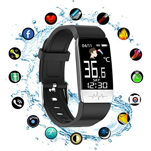 Smart Watch Fitness Tracker with Body Temperature Blood Pressure Oxygen Heart Rate Sleep Monitor, IP67 Waterproof with…