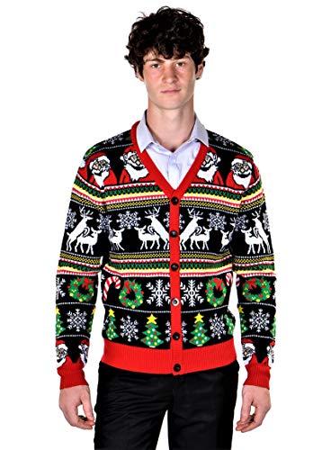 SoCal Look Men's Ugly Christmas Sweaters Cardigan Deer Santa Black