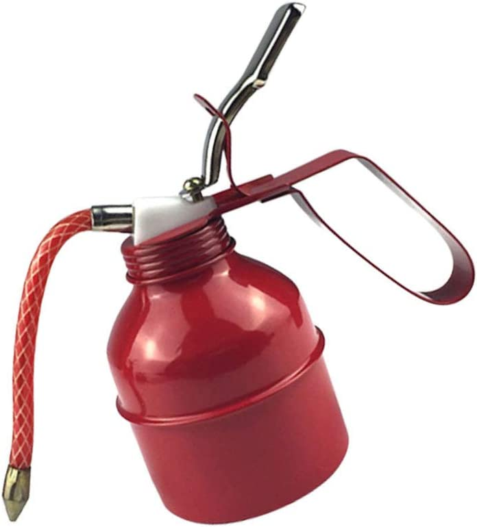 BESPORTBLE Hand Pump Oiler Oil Can Oil Filling Pot for Engine Oil Storage Industry Tool Dark Red 300ccl 17.8x17.8x15.5cm